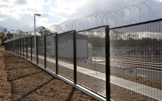 Razor Wire on Steel Security Fence
